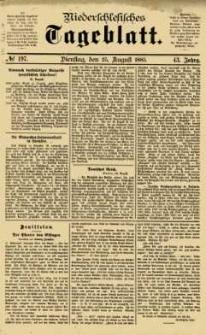Niederschlesisches Tageblatt, no 197 (Dienstag, den 25. August 1885)