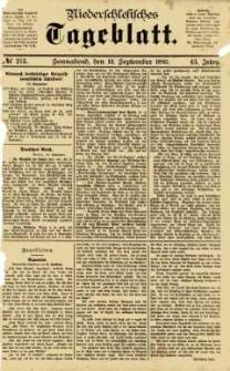 Niederschlesisches Tageblatt, no 213 (Sonnabend, den 12. September 1885)