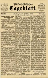 Niederschlesisches Tageblatt, no 236 (Freitag, den 9. Oktober 1885)