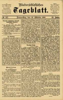 Niederschlesisches Tageblatt, no 247 (Donnerstag, den 22. Oktober 1885)