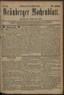 Grünberger Wochenblatt: Zeitung für Stadt und Land, No. 24. (24. Februar 1884)