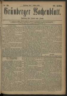 Grünberger Wochenblatt: Zeitung für Stadt und Land, No. 29. (7. März 1884)