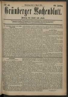 Grünberger Wochenblatt: Zeitung für Stadt und Land, No. 42. (6. April 1884)
