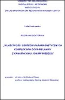 Właściwości centrów paramagnetycznych kompleksów dopa-melaniny z kanamycyną i jonami miedzi(II)