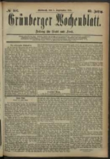 Grünberger Wochenblatt: Zeitung für Stadt und Land, No. 106. (3. September 1884)