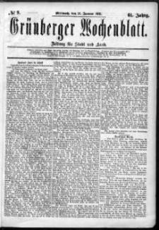 Grünberger Wochenblatt: Zeitung für Stadt und Land, No. 9. (21. Januar 1885)