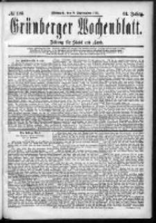 Grünberger Wochenblatt: Zeitung für Stadt und Land, No. 108. (9. September 1885)