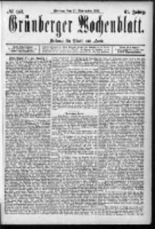 Grünberger Wochenblatt: Zeitung für Stadt und Land, No. 142. (27. November 1885)