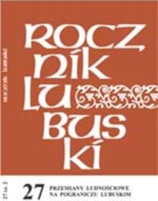 Rocznik Lubuski (t. 27, cz.2): Przemiany ludnościowe na pograniczu lubuskim