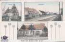 Brzozowiec / Berkenwerder; Gruss aus Berkenwerder, N.-M.; Kirche; Dorfstrasse; Materialwarenhlg. von Fritz Hagedorn