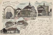 Sulechów / Züllichau; Gebäude des Rgl.Pädagogiums u. Waisenhauses bis zum Jahre 1878