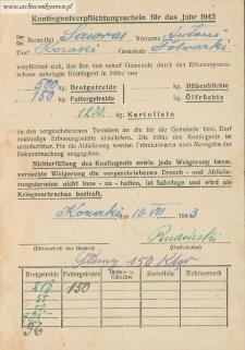 Antoni Sawras - Kontingentverpflichtungsschein für das Jahr 1943