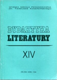 Dydaktyka Literatury, t. 14 - spis treści