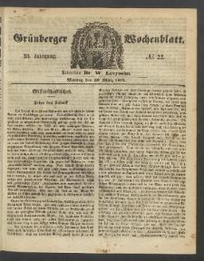 Grünberger Wochenblatt, No. 22. (20. März 1854)