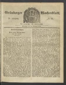 Grünberger Wochenblatt, No. 62. (6. August 1854)