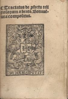 Tractatus de p[ro]fectu religiosorum