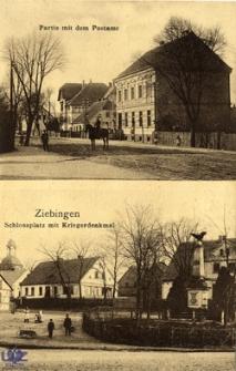 Cybinka / Ziebingen; Schlossplatz mit Kriegerdenkmal