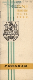 Dni Zielonej Góry 27. IX. - 4. X. 1964: program