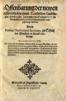 Offenbarung der newen erschröcklichen unnd Teuflischen Landtlugen, so diss 1586. Jars wider die Societet Jesu im Reich und andern Landen hin und wider aussgesprengt worden