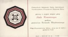 [Zaproszenie na miejsce przy Stole Honorowym podczas przemarszu Korowodu Winobraniowego 24 IX 1972 r.]