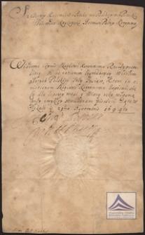 Pokwitowanie na trzy tysiące złotych dla skarbu koronnego, podpisane i opieczętowane przez Szczęsnego Kazimierza Potockiego
