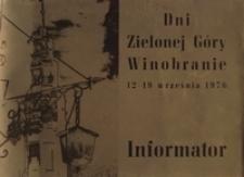 Dni Zielonej Góry - Winobranie, 12-19 września 1976: informator
