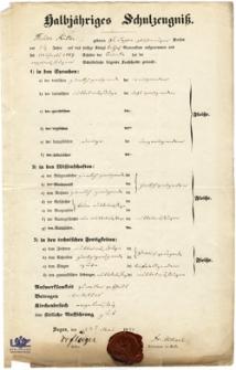 Halbjähriges Schulzeugnis: August Stolpe (1843)