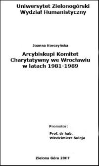 Arcybiskupi Komitet Charytatywny we Wrocławiu w latach 1981-1989