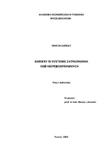 Bariery w systemie zatrudniania osób niepełnosprawnych