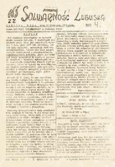 """Solidarność Lubuska: pismo MKZ NSZZ """"Solidarność"""" w Zielonej Górze, nr 4 (11 listopada 1980 roku)"""