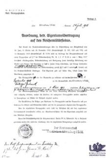 Anordnung, betr. Eigentumsübetragung auf den Reichsmilitärfiskus