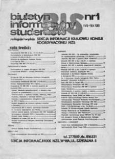 BIS (Biuletyn Informacyjny Studentów), nr 1 (1 VII - 11 IX 1981)