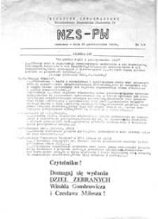 NZS-PW: Biuletyn Informacyjny Niezależnego Zrzeszenia Studentów PW, nr 3/4 (28 października 1980)