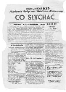 Co słychać: komunikat NZS Akademia Medyczna Wrocław (26.3.81)