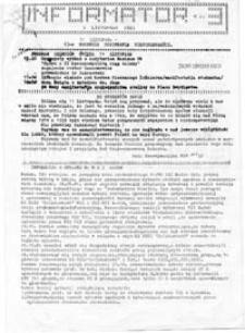 Informator [NZS SGPiS Warszawa], nr 3 (9 listopada 1981)