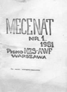 Mecenat: pismo NZS AWF Warszawa, nr 1