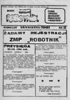 """Młody robotnik: pismo Związku Młodzieży Pracującej """"Robotnik"""", nr 5 (30 października 1981 r.)"""