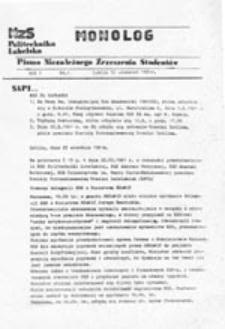 Monolog: pismo Niezależnego Zrzeszenia Studentów Politechniki Lubelskiej, nr 1 (30 wrzesień1981)