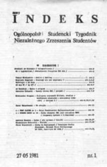 Nowy indeks: Ogólnopolski Studencki Tygodnik Niezależnego Zrzeszenia Studentów, nr 1 (27.05.1981)