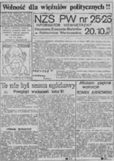 NZS-PW: informator wewnętrzny, nr 25-27 (20.10.1981 r.)