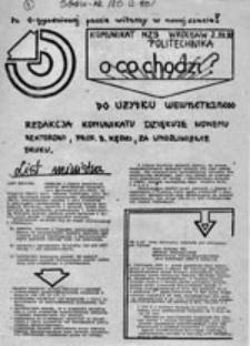 O co chodzi? Komunikat NZS Politechnika Wrocław (2.XII.80)