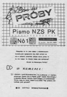 Próby: pismo NZS P[olitechniki] K[rakowskiej], nr 1 (15.04.1981)
