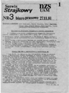 Serwis strajkowy NZS UAM, nr 3 (27.11.81)