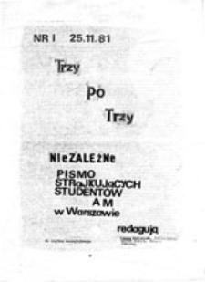 Trzy po Trzy: niezależne pismo strajkujących studentów AM w Warszawie, nr 1 (25.11.81)