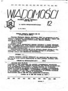 Wiadomości: studencki ośrodek informacji przy N[iezależny]Z[związek]S[tudentów] P[olitechniki]G[dańskiej], nr 12 (2.10.1981)