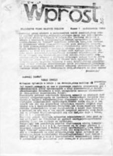 Wprost: niezależne pismo młodych Polaków, nr 1 (październik 1980 r.)