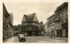Żagań / Sagan am Bober; Keplerstrasse mit Turm der Stadtpfarrkirche