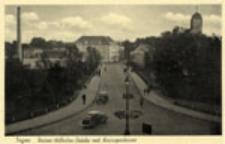 Żagań / Sagan; Kaiser-Wilhelm-Brücke mit Kreissparkasse