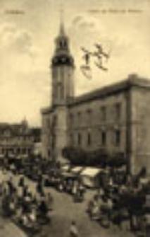 Sulechów / Züllichau; Partie am Markt mit Rathaus