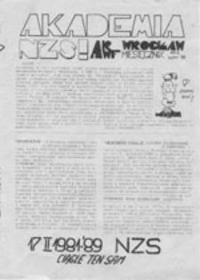 Akademia NZS: Akademia Rolnicza i Akademia Wychowania Fizycznego (Wrocław), nr 1 (luty '89)